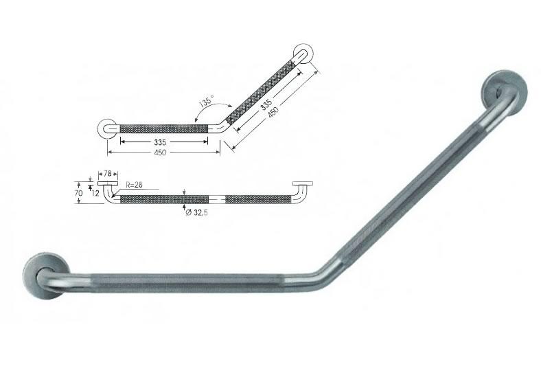 barra de apoyo fija ángulo a 135º
